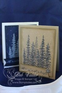Winter Wonderland ( SU) lovely-as-a-tree - add white gel pen snow and some diamond glitter makes an easy Christmas card - NIght of Navy on Crumb Cake or white on Night of Navy by Deb Valder-at stampladee.