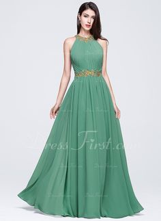 A-Line/Princess Scoop Neck Floor-Length Chiffon Prom Dresses With Ruffle Beading Appliques Lace Sequins (018070360) - DressFirst