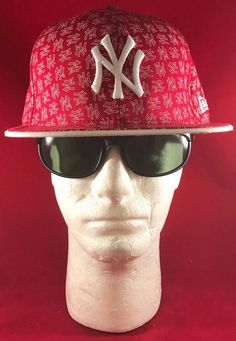 New Era 59Fifty MLB NY Yankees Fitted Red And White W/NY Insignia On Flat Hat #NewEra #NewYorkYankees