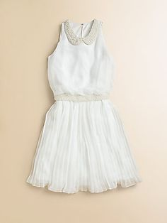 David Charles Girls Chiffon Pearl Dress