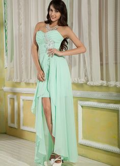 The Jessica Sweet Chiffon Sheath/Column Asymmetrical Floor Length Sweetheart Beading Evening #Dress is one of our fashion #evening #dresses. Styles of our #evening #dresses include: strapless, off the shoulder, criss-cross straps, v-neck, spaghetti straps and halter.