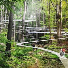 Imagine if your next trip to the forest allowed you to meander hidden pathways into the treetops, swing on hammocks, and bounce on giant… Park City, Futuristic Architecture, Landscape Architecture, Architecture Design, Natural Architecture, System Architecture, Contemporary Architecture, Urban Landscape, Landscape Design