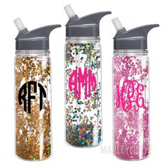 Three new patterns now available in our Monogrammed 18oz Double Wall Water Bottle. Perfect for the gym or those outdoor adventures this summer! #Marleylilly