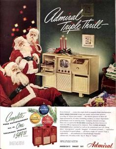 1948 Admiral smart set, a combined television, record player, and telephone all in one boxy contraption. The Saturday Evening Post.