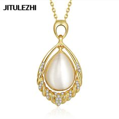 Platinum plated CZ Necklace for women sapphire jewelry Vintage Collana delle…