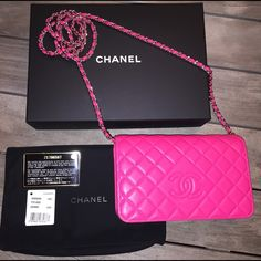 """HP! Auth Chanel Fuchsia Diamond WOC 16C Cruise New release & super hard to find! Diamond quilted Chanel WOC in a beautiful FUCHSIA HOT PINK! Color without flash is more accurate (2nd photo). Scuffs and rub marks on corners and visible wear to leather chain. Some marks on the front flap and a couple of indentations. Interior is clean. Beautiful bag!  Includes box, dust cover, Auth card, tag.NO TRADES 7.5"""" wide x  4.75"""" high x 2.1"""" deep. CHANEL Bags Crossbody Bags"""