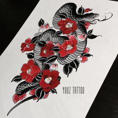 Today's #tattoo design. Snake and tsubaki. #yuuztattoo