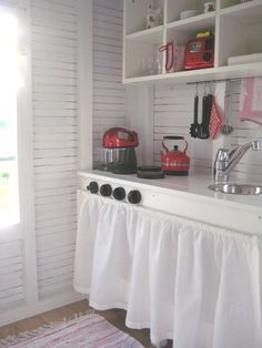 playhouse decor | Pure Style Home: Little Houses & The RTMC Playhouse Project - skirt and shelves