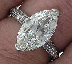 3.33ct H IF Gorgeous Marquise in a Beautiful Platinum Micro Pave Mounting~Very special Diamond~because it has a fuller shape, it does not