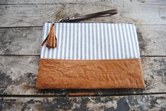 Upcycled Brown Leather Striped Clutch // by aperfectmessvintage