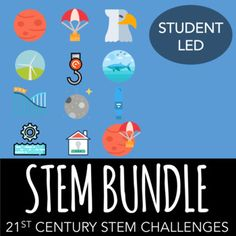 Engage your students with these week-long STEM challenges.  The STEM bundle comes with 12 student-led STEM activities.What's Included in Each STEM ProjectThe 21st-century problem includes a video challenge which outlines the activity in a fun and easy to understand way.The slideshow presentation (PPT and Keynote) allows the teacher to facilitate the pacing throughout the project.The teacher lesson plans include TEKS and NGSS standards alignment, and step-by-step directions on what the…