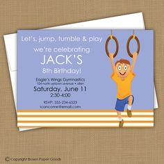boy birthday invitation- gymnastic party. $15.00, via Etsy.