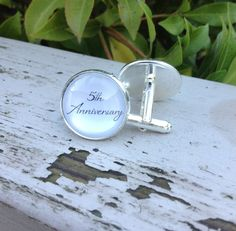 Anniversary cufflinks cuff links for him 5th by OverTheMoonBridal