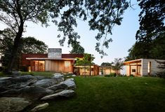 A large stone wall runs through this redesigned home in Connecticut   CONTEMPORIST