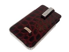 Extremely classical black and red patent leather holder with bright Swarovski crystals from Cango & Rinaldi.