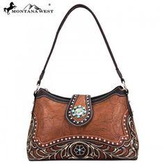 WESTERN CONCHO HANDBAG - BROWN Montana, Shoulder Bag, Handbags, Purses, Brown, Casual, Leather, Collection, Flathead Lake Montana