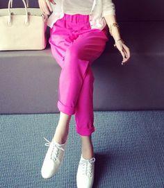 $7.22 Fashionable Solid Color Pocket Design Harem Pants For Women