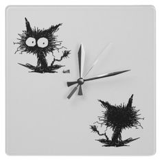 """GabiGabi"" Square Wallclocks ! XD --- #Wallclock #clock #cat #Blackcat #Kitten"