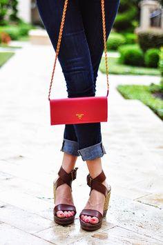 Brooke du jour | Prada pink saffiano wallet on a chain