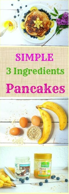 simple and delicious 3 ingredients pancakes all you need are 3 eggs 1 and half cup of oats 3 bananas blend the bananas mix them with the eggs and