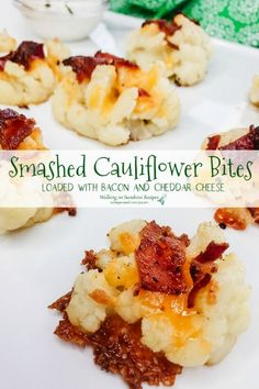 Keto-Friendly Recipe - Smashed Loaded Cauliflower Bites Recipe - served as a side dish, topped with crispy bacon and cheddar cheese are a nice low-carb alternative to potatoes from Walking on Sunshine Recipes. #cauliflowerbites #loadedcauliflower #lowcarb #ketofriendlyrecipe Smashed Cauliflower, Baked Cauliflower Bites, Cauliflower Recipes, Side Dish Recipes, Low Carb Recipes, Healthy Recipes, Dishes Recipes, Top Recipes, Burger Recipes