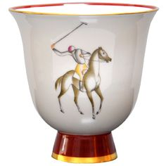 Gio Ponti (Italian 1891-1979) Signed/Decorated Porcelain Vase  Italy  1930  Decorated porcelain vase designed by Gio Ponti for Richard Ginori.  Signed Made in Italy-Richard Ginori-37-6