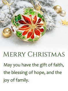 Luxurious Christmas Ornament Card: Send shimmer and shine with this luxurious Christmas card. A beautiful poinsettia decorates the Christmas ornament in a snowy winter scene that wishes the receiver the gift of faith, blessing of hope, and joy of family. Merry Christmas Quotes Wishing You A, Christmas Wishes Quotes, Merry Christmas Greetings, Christmas Blessings, Christmas Messages, Holiday Wishes, Christmas Images, Christmas Art, Christmas Ornament
