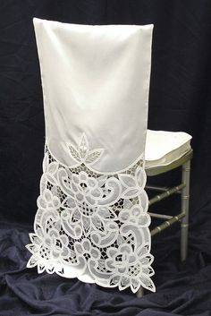 Discover thousands of images about Bridal Chair Cover. Chair Back Covers, Chair Backs, Slipcovers For Chairs, Upholstered Chairs, Dining Chairs, Dining Room, Rocking Chair Redo, Big Chair, Desk Chair