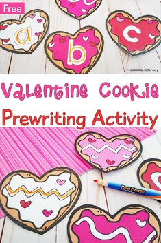 FREE Printable Valentine& Day Cookie Pre-Writing Activity for Pre-K and Kindergarten writing centers in February! Writing Center Kindergarten, Pre Writing, Writing Activities, Preschool Kindergarten, Writing Skills, Valentines Writing Kindergarten, Preschool Worksheets, Letter Writing, Valentine Theme