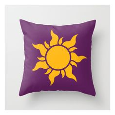 Tangled Rapunzel Sun Logo Corona Symbol Throw Pillow (67 BRL) ❤ liked on Polyvore featuring home, home decor and throw pillows