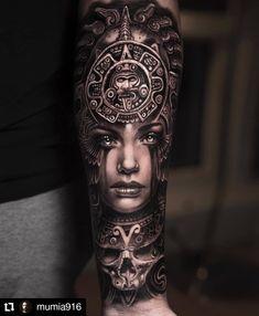 #Repost @mumia916 • • • • • • One from last year ⚔️ @silverbackink @inkeeze @fkirons @killerinktattoo #silverbackink #inkeeze #fkirons #fkironsproteam #killerink #killerinktattoosupplies #aztectattoo #realistic #realismtattoo #art #tattoo #blackandgreytattoo #mumia916 Aztec Tattoos Sleeve, Egyptian Tattoo Sleeve, Aztec Tribal Tattoos, Aztec Tattoo Designs, Tribal Tattoos For Women, Aztec Art, Tattoo Sleeve Designs, Tribal Sleeve, Indian Girl Tattoos