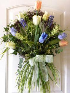 Spring Flower Tulip Bouquet Floral Wreath Home Door Decor