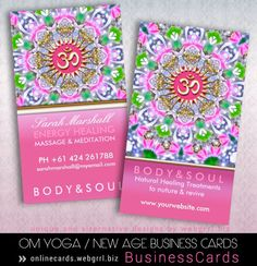 iJustMade — OM Yoga Energy Healing Pink Sparkle Business Cards...  (there is also a Yin Yang version of this design, which is currently one of the best sellers at Onlinecards)