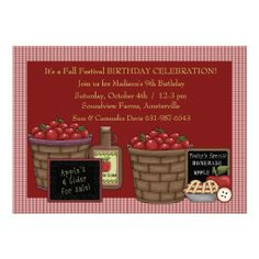 Shop Apple Picking Time - Birthday Party Invitation created by PixiePrints. 9th Birthday Parties, Kids Birthday Party Invitations, Birthday Celebration, Apple Birthday, Farm Birthday, Apple Festival, Festival Party, Teacher Birthday Card, Apple Season