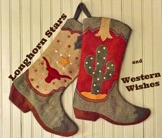 Cute pair of cowboy boot stockings. These will go well in country, lodge and southwestern homes as well as western.