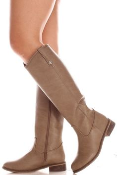 Beige faux leather knee high cowboy boots