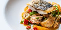 Russell Brown pairs this classic Tuscan salad with beautifully pan-fried sea bass and plump tiger prawns