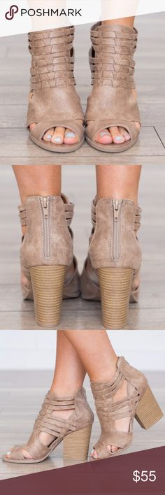 "Taupe Chunky Heeled Booties Perfect Shoes for a transition in to fall, would look super cute with dresses/skirts or a nice pair of skinny pants. These are a brand new Boutique item. 4"" heel available in sizes 8, 8.5, and 10. Shoes Ankle Boots & Booties"