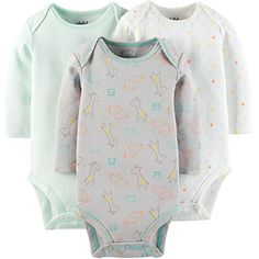 Child Of Mine by Carters Unisex Baby Long Sleeve Bodysuit 3 Pack Newborn *** Read more at the image link. (This is an affiliate link) #BabyBoyBodysuits
