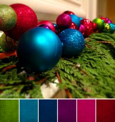 "ornaments palette - love the color ""pop"" outside the box of traditional red and green for Christmas decorations. Simple festive ornaments in jewel tones resting on fresh boughs of greenery. Colour Pallette, Color Palate, Color Combos, Jewel Tone Colors, Jewel Tones, Christmas Colour Schemes, Christmas Colors Palette, Xmas Colors, Colour Board"