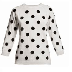 Rumour London - Charlotte Polka Dot Jumper ($145) ❤ liked on Polyvore featuring tops, sweaters, shirts, jumpers, 3/4 length sleeve shirts, polka dot sweater, white jumper, white 3/4 sleeve sweater and shirt sweater