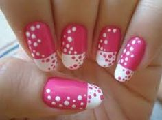 Pink nails with white French tip and pink and white polka dots taraalex