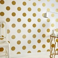 Graham & Brown White & Gold Dotty Polkadot Wallpaper - House of Fraser Gold Spot Wallpaper, Gold Polka Dot Wallpaper, Spotted Wallpaper, Metallic Wallpaper, Metallic Prints, Gold Polka Dots, Modern Wallpaper, Kids Wallpaper, Wallpaper Samples