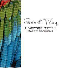Parrot Wing Peyote Stitch Beading Pattern  Cuff par RareSpecimens