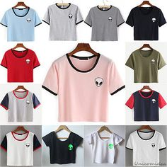 Moda Mujeres Verano Manga Corta Camiseta Blusa Informal Crop Top Alien impresión T-Shirt
