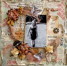 Just Be Premade Scrapbook Page 12 x 12 Vintage, Shabby Chic, Wedding, Art…