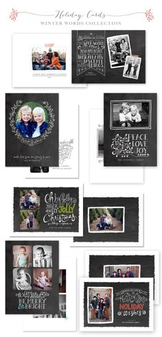 Winter Words Holiday Card Templates by Jamie Schultz Designs