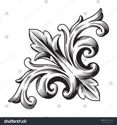 Vintage Barock Ecke Scroll Ornament Gravur c / Rose Drawing Tattoo, Tattoo Drawings, Art Drawings, Filigrana Tattoo, Tattoo Oma, Baroque Frame, Scroll Tattoos, Filigranes Design, Pattern Design