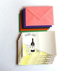Set of 5 Hebrew Chag Sameach / Happy Holiday cards with by liatib