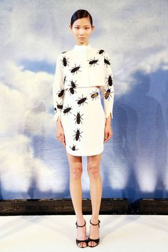 This just made my skin crawl. OMG ugh no way.  Azede Jean Pierre S/S 2014 | almost as misguided as J. Crew's infamous skunks skirt.